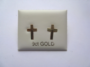 9ct Gold Diamond cut cross stud earrings 0.3g